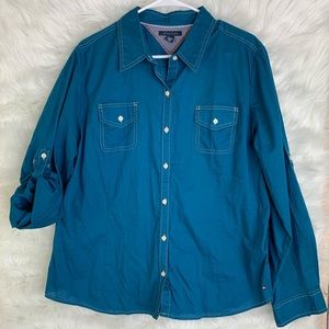 Tommy Hilifger Teal Blue Button up Roll Tab Shirt